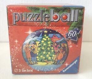 NIP Christmas Tree Puzzle Ball 3D Round Ornament Music Dog Ravensburger 60 Piece