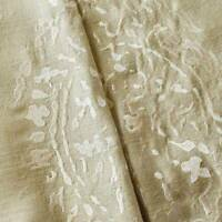 Beige/Pearl Abstract Paisley Embroidered Silk Decor Fabric, Fabric By The Yard