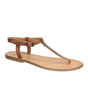 Italian women's T-strap flat open handmade sandals shoes in tan genuine leather