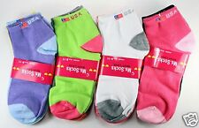 New Lot 12 Pairs Womens Ankle Low Cut Socks Multi Neon Colors Size 9-11 USA Flag