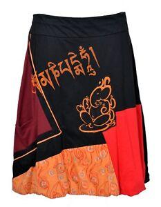 Ladies Knee-length Colorful Skirt With Elasticated Waistband and Ganesha Print