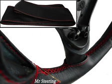 FOR FORD COUGAR 1998-2002 REAL BLACK LEATHER STEERING WHEEL COVER RED STITCH