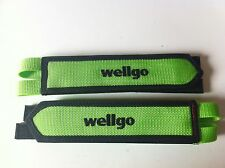 BICYCLE GREEN TOE CLIP DOUBLE STRAPS WELLGO MTB ROAD FIXIE TRACK CYCLING NEW