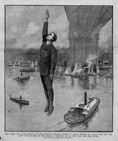 BROOKLYN BRIDGE TRAGEDY MAKING HIS FATAL LEAP INTO THE EAST RIVER 140 FEET BELOW