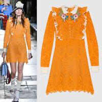 sz 38 NEW $4500 GUCCI RUNWAY Orange EYELET RUFFLE FLOWER Broderie Anglaise DRESS