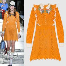 62c54db8b44 New Listingsz 38 NEW $4500 GUCCI RUNWAY Orange EYELET RUFFLE FLOWER  Broderie Anglaise DRESS
