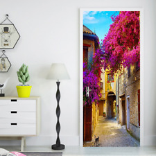 3D Self Adhesive Small Town Purple Flower Door Wall Sticker Wrap Mural  Decal