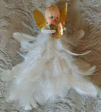 More details for vintage christmas tree ornament angel fairy feather skirt