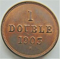 1903 H GUERNSEY 1 Double, Lustrous, grading UNCIRCULATED.