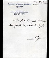 """YERVILLE (76) ORDONNANCE de MEDECIN """"Docteur Jacques LEMERY"""" en 1960"""