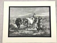 1875 Antico Stampa Inglese Rurale Landscape Pascolo Bestiame Cows Agricoltura