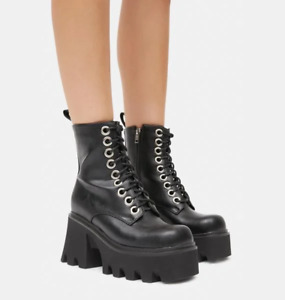 Womens Patent Leather Punk Square Toe Ankle Boots Platform Chunky Heels Zip Shoe