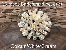 wedding bridesmaid bouquet wooden roses cream/white