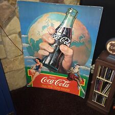 """1993 COCA COLA Coke Cardboard Sign All The Year 'Round  34"""" High by 24"""" Wide"""