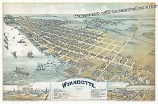 Wall Art Reproduction of a 1896 Map of Wyandotte Michigan 13x19