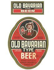 12 oz Old Bavarian Type Beer Label, IRTP, Sunbury Brewing Co., Sunbury, PA