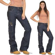 Womens Ladies Wide Loose Denim Combat Trousers Cargo Jeans BOYFRIEND Pants Blue 18