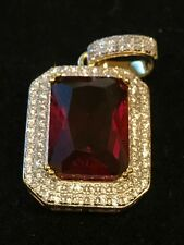 Mens Yellow Gold Finish .925 Sterling Silver Red Ruby Lab Diamonds Pendant ICY
