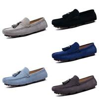 Men's Loafers Shoes Pumps Slip on Driving Moccasin Tassel Suede Leather Casual