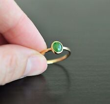 Handmade Grade A Icy Emerald Jadeite Jade Ring 18K Yellow Solid Gold  5.75