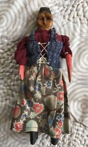 AAFA Antique Carved Wood and Cloth Articulated Folk Art Appalachian Poppet Doll