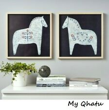 """Ikea HOVSTA Picture Frame w/Poster, Painted Dala Horses 15 ¾ x15 ¾"""" Set of 2"""