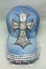 CROSS Baseball Ball Cap Hat Jewel Rhinestone Bling Sparkle Denim Adjustable New