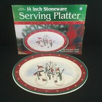 "Oval Serving Platter 14"" by Royal Seasons Stoneware Snowmen RN2 Christmas VTG 2"