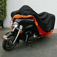 XXXL Orange+Black Motorcycle Cover Water-proof 295x110x140cm For Harley Useful