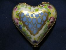 Limoges Hand Painted Hinged HEART Trinket Box