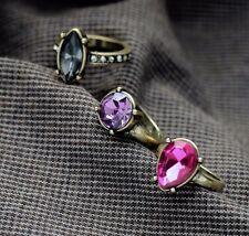 3 PCS/Lot Wrap New Fashion Retro Bronze Rhinestone Finger Jewelry Rings Size 6