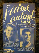 Partition J'aime autant Raymond Girerd Yvon Jeanclaude 1948