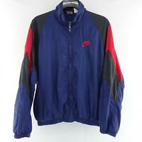 Vintage Mens Nike Dri Fit Blue Retro Windbreaker Track Jacket Size Large L Golf