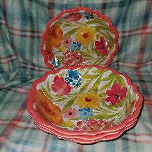 Pioneer Woman Melamine Sunny Days Coral Dinner Pasta Bowl Set Of 4