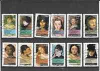 FRANCE 2012.PORTRAITS DE FEMMES.SERIE COMPLETE DE 12 TIMBRES AUTOAD. OBLITERE