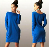 Women Autumn Winter Long Sleeve Pocket Dress Solid O-Neck Casual Loose Dress