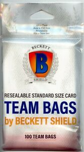 1 Pack of 100 Beckett Shield Resealable Team Bags holds team sets