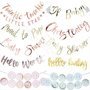 Oh Baby Shower Banner Bunting Decorations Boy Girl Unisex Gender Reveal Party