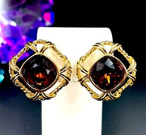 ELEGANT SIGNED SWAROVSKI 18K GP TOPAZ BROWN RHINESTONE STATEMENT CLIP EARRINGS