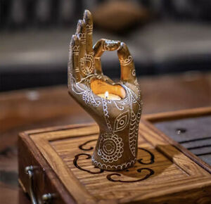 Candle Holder, Buddha's-Hand Shaped Resin Candlestick Desktop Decor