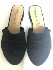 BNIB Tamaris Black Suede Bow Mules Sandals UK 5 EU 38 US 7