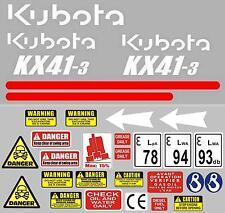 Decal Sticker set. KUBOTA KX41-3 Mini Digger Pelle Bagger Excavator