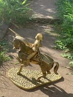 "Antique Old Brass Knight Horse Jockey Horseman 5-7kg 11"" Figurine"