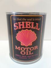 Antique Shell Motor Oil Can 1 qt. - ( Reproduction Tin Collectible )