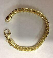 """6 Mm, 9"""" Gold Plated Sterling Silver 925 FRANCO Link Bracelet"""