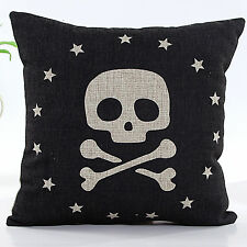 18'' Vintage Black Caribbean Pirate Linen Throw Pillow Case Cushion Cover DS8