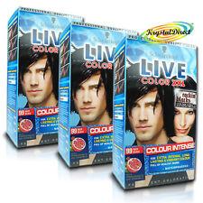 3x Schwarzkopf Live Color XXL 99 DEEP BLACK Permanent Hair Dye Colour Intense