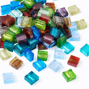 200pcs Colorful Handmade Lampwork Glass Beads Smooth Square Loose Spacer 12x12mm