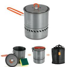 Portable Aluminum Outdoor Camping Pot 1.5L Heat Collecting Exchanger Pot US O9P6