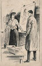 ARTISTS STUDIO ROMANCE Pen & Ink Illustration c1910